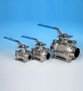 3 Piece Full Bore Sanitary Cavity Filled Direct Mount Stainless Steel Ball Valve Weld Ends