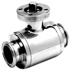 Stainless Steel 2 - Way Hygienic Sanitary Polished Ball Valve Cavity Filled with Actuator Mounting Pad